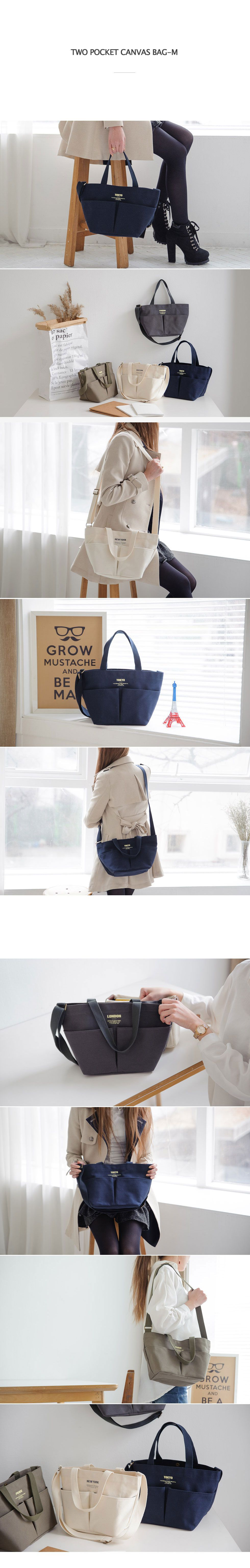 Two Pocket Canvas Bag-M